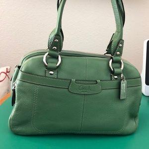Coach Green Leather Shoulder Handbag
